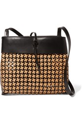 Kara Tie Woven Leather Shoulder Bag Black