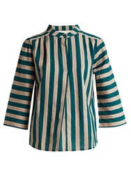 Ace And Jig Katherine Striped Cotton Top Green Multi