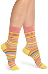 Paul Smith Fleur Crew Socks Pink Yellow