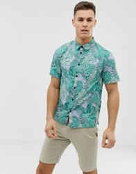 Superdry All Over Tropic Print Short Sleeve Shirt In Green