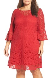 Gabby Skye Plus Size Women's A Line Lace Dress Red