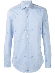 Etro Tiny Fish Print Shirt Blue
