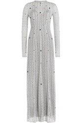 Missoni Embellished Floor Length Crochet Knit Gown Silver