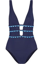Karla Colletto New Wave Appliqued Cutout Swimsuit Storm Blue