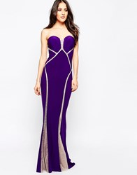 Forever Unique Bianca Sweetheart Maxi Dress With Sheer Embellished Panels Purple