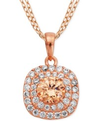 Giani Bernini Champagne And Clear Cubic Zirconia Halo Pendant Necklace In 18K Rose Gold Plated Sterling Silver