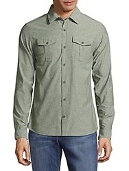 Orlebar Brown Textured Cotton Casual Button Down Shirt Army