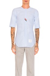 Thom Browne Collarless Short Sleeve Oxford In Blue