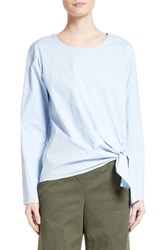 Theory Women's Serah Stretch Cotton Tie Front Top Larkspur Blue