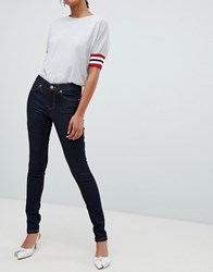 Oasis Skinny Jeans With Contrast Stitching In Raw Wash Blue