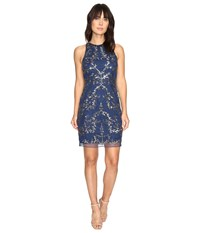 Adrianna Papell Short Halter Fully Beaded Dress Twilight Women's Dress Blue