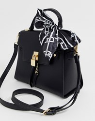Aldo Structured Top Handle Tote Bag With Cross Body Strap Black