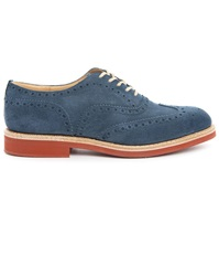 Churchs Downtown Sky Blue Suede Floral Wingtip Brogues