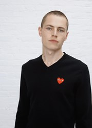Comme Des Garcons Red Heart V Neck Pullover Black