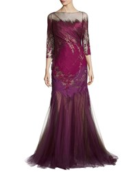 Rene Ruiz 3 4 Sleeve Mermaid Gown Pink Ombre