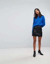 Mango Button Front Mini Skirt With Zip Pockets Black