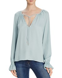 L'academie The Boho Tie Neck Blouse Sea Foam