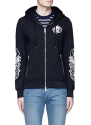 Alexander Mcqueen Skull Embroidered Organic Cotton Zip Hoodie Black