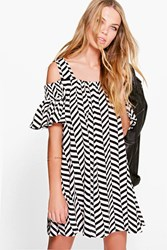 Boohoo Zig Zag Print Cold Shoulder Swing Dress Black