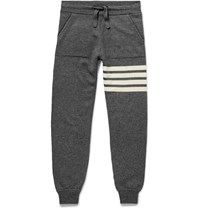 Thom Browne Striped Cashmere Sweatpants Gray