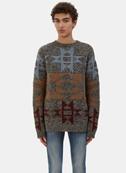 Valentino Two Tone Patterned Cashmere Knit Sweater Grey