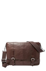 Men's Fossil 'Graham' Leather Messenger Bag Brown Dark Brown