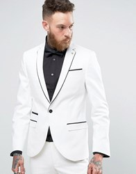 Noose And Monkey Super Skinny Suit Jacket With Piping White
