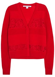 Diane Von Furstenberg Adelyn Open Knit Wool Cardigan Red