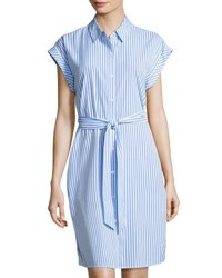 Neiman Marcus Striped Lace Inset Shirtdress Blue White