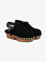 Alexander Mcqueen Shearling Lined Suede Clogs Black