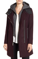 Andrew Marc New York Women's By Hooded Bib Front Boiled Wool Jacket Burgundy