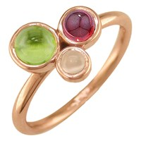 London Road 9Ct Gold 3 Stone Bubble Cocktail Ring M Rose Gold Multi