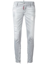 Dsquared2 Distressed Skinny Jeans Grey