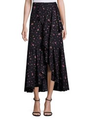 Rebecca Taylor Mia Floral Wrap Skirt Dark Navy