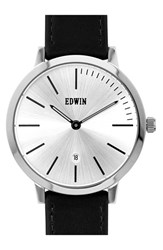 Men's Edwin 'Kenny' Leather Strap Watch 40Mm