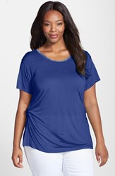 Plus Size Women's Ellen Tracy Beaded Neck Side Twist Tee