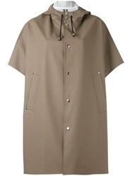 Stutterheim Short Sleeve Raincoat Women Cotton Polyester Pvc Xs S Brown