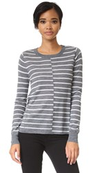 Paige Allie Stripe Sweater Heather Grey With Lt Heather