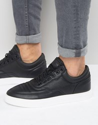 Pull And Bear Pullandbear Faux Leather Trainers In Black With Contrast Sole Black