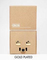 Asos Gold Plated Signet Ring And Cufflink Set