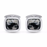 Lmj Tree Agate Stone Cufflinks Black Green Grey