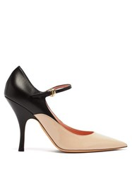 Rochas Panelled Leather Mary Jane Pumps Black Pink