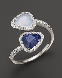 Meira T 14K White Gold Chalcedony Blue Sapphire And Diamond Ring