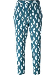 Equipment 'Mulet' Pattern Tapered Cropped Trousers Blue