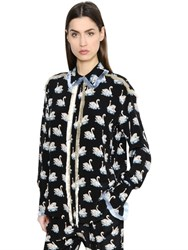Stella Mccartney Swan Printed Silk Georgette Shirt