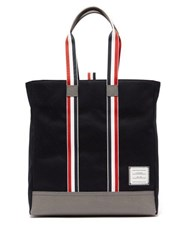Thom Browne Striped Cotton And Leather Tote Bag Navy