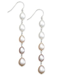 Macy's Multi Colored Cultured Freshwater Pearl Linear Earrings In Sterling Silver 7Mm