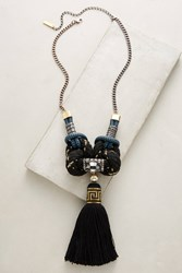 Anthropologie Black Rope Pendant Necklace