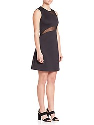 Clover Canyon Neoprene Mesh Inset Dress Black