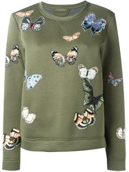 Valentino Butterfly Embroidered Sweatshirt Green
